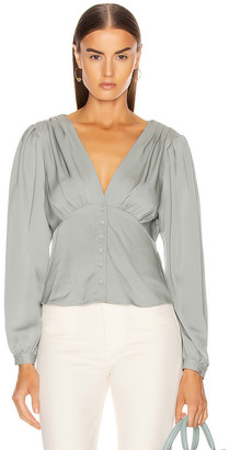 Frame Empire Pleat Top in Sage | FWRD