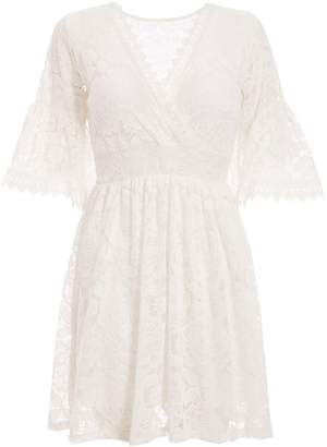 Dorothy Perkins Womens *Quiz White Lace Wrap Skater Dress