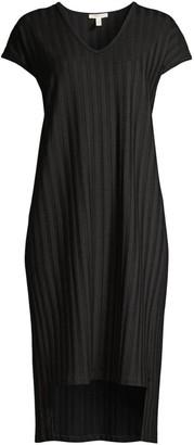 Eileen Fisher V-Neck Rib-Knit Dress