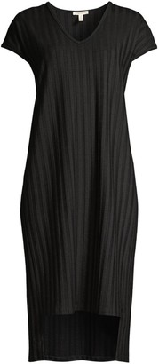 Eileen Fisher V-Neck Rib-Knit Dress