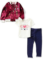 Flapdoodles Little Girls 2T-6X Patches Satin Bomber Jacket, Tee & Pant Set