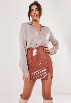 Missguided Petite Champagne Long Sleeve Tunic Top