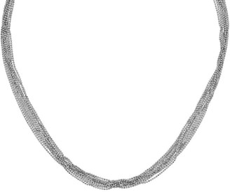 Italian Silver Multi-Strand Beaded Necklace, 14.7g