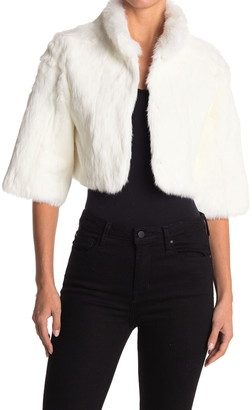 Love Token Genuine Dyed Rabbit Fur Cropped Bolero Jacket