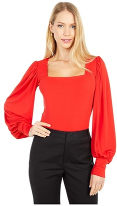 Nicole Miller Stretchy Matte Jersey Square Neck Blouse (Poppy) Women's Clothing
