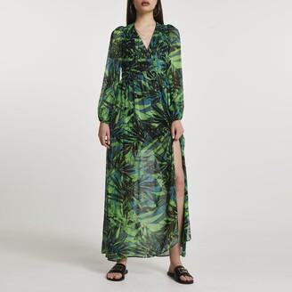 River Island Womens Green long sleeve tropical print maxi dress
