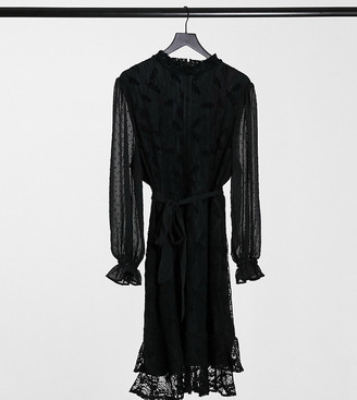 Little Mistress Plus high neck long sleeve lace mini dress with tie belt in black