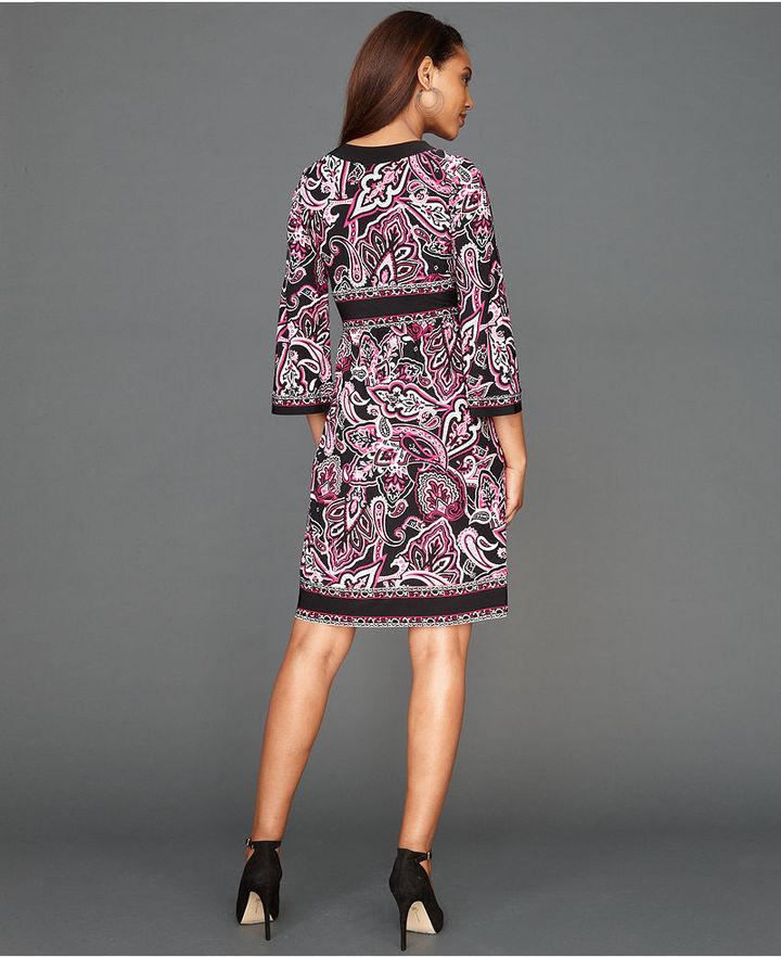 INC International Concepts Dress, Three-Quarter-Sleeve Exotic-Print A-Line