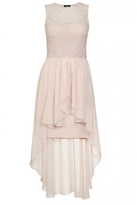 Quiz Blush Pink Lace Dip Hem Dress