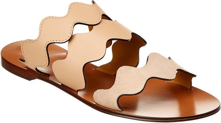 Scalloped Sandal Scalloped Suede Lauren Leatheramp; Lauren rhdQts
