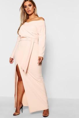 boohoo Plus Off The Shoulder Wrap Dress