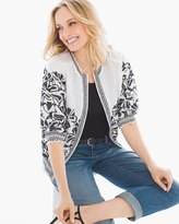 Chico's Embroidered Smocked Jacket
