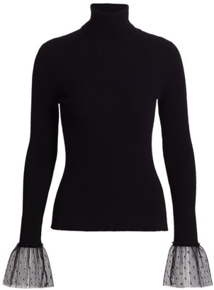 RED Valentino Maglia Point D'Esprit Cuff Sweater