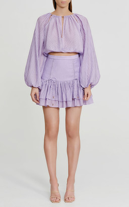 Significant Other Florence Check-Weave Tiered Mini Skirt
