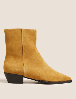 Marks and Spencer Suede Western Chisel Toe Ankle Boots