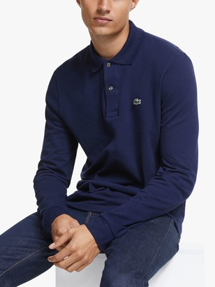 Lacoste L.13.12 Classic Regular Fit Long Sleeve Polo Shirt, 166 Navy Blue