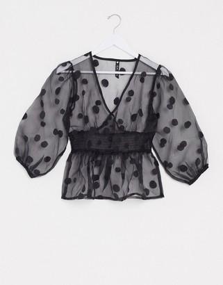 Influence spot organza blouse with peplum hem in black