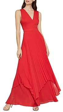 BCBGMAXAZRIA Pleated Satin Cutout Gown