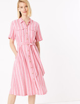 Marks and Spencer Linen Striped Belted Midi Shirt Dress