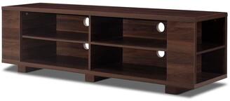 "Overstock 59"" Console Storage Entertainment Media Wood TV Stand-Walnut - Walnut"