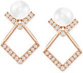 Swarovski Imitation Glass Pearl and Pavé Earring Jacket Earrings