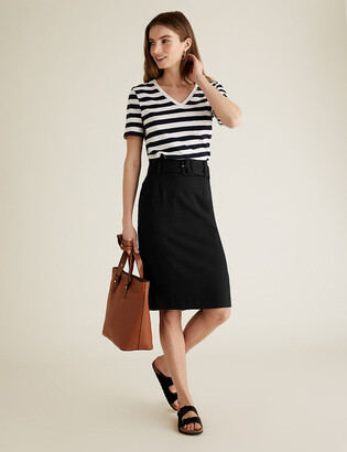 Marks and Spencer PETITE Belted Knee Length Pencil Skirt