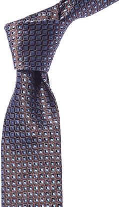 Canali Brown & Blue Geometric Silk Tie