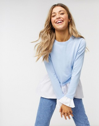 Qed London 2 in 1 shirt jumper in blue