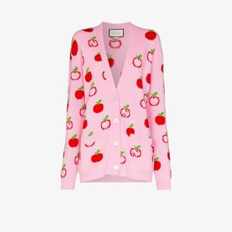 Gucci Apple Knit Wool Cardigan