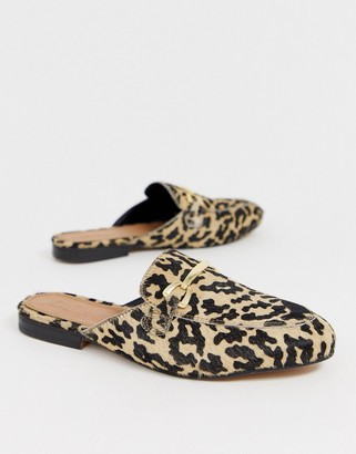 Asos DESIGN Moves leather mules in leopard