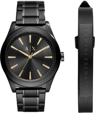 Armani Exchange Men Stainless Steel Bracelet Watch 44mm AX7102 Gift Set