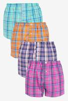 Mens Next Check Woven Boxers Pure Cotton Four Pack