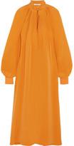Tibi Plissé Silk Crepe De Chine Midi Dress - Saffron