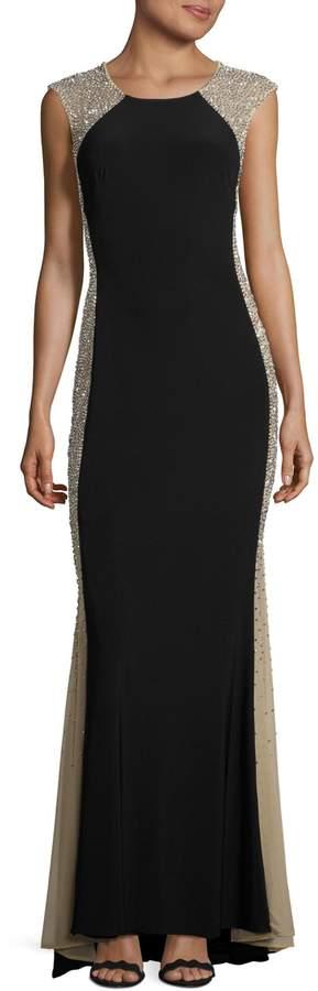 Xscape Evenings Caviar Illusion Side Panel Gown