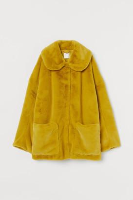 H&M Faux Fur Jacket - Yellow