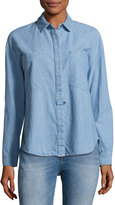 Derek Lam 10 Crosby Hidden Placket Chambray Shirt, Light Blue