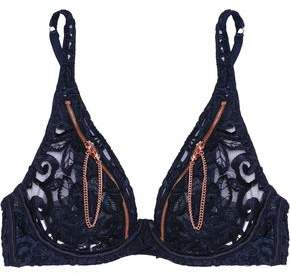 Agent Provocateur Soiree Terri Zip-Detailed Embroidered Tulle Underwired Bra