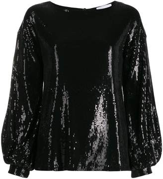 Dondup sequinned puff-sleeve blouse