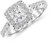 Houston Diamond District 1.01 Carat t.w. Platinum Round Square Halo Diamond Engagement Ring I1