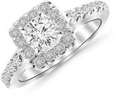 Houston Diamond District 1.3 Carat t.w. 14K White Gold Round Square Halo Diamond Engagement Ring VS2-SI1