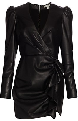 Jonathan Simkhai Catalina Vegan Leather Wrap Mini Dress