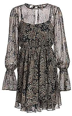 Joie Women's Manning Sheer Paisley Popover Flare Dress
