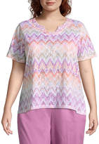 Alfred Dunner Los Cabos Zig Zag Burnout Tee- Plus