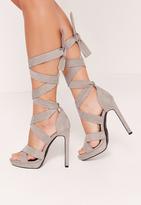 Missguided Wrap Around Strap Platform Heels Grey