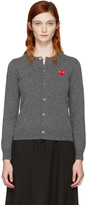 Comme des Garcons Grey and Red Heart Patch Cardigan