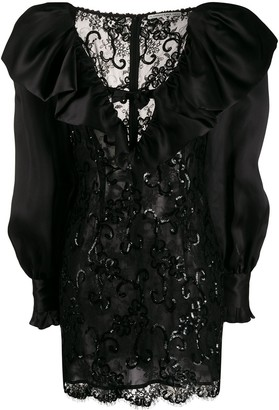 Alessandra Rich Sequin Embroidered Lace Dress