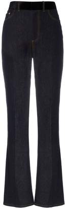 ADEAM Bootleg silk-blend belted jeans