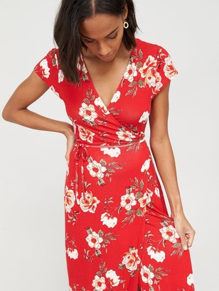 Very Jersey Short Sleeve Wrap Maxi Dress - Red Print