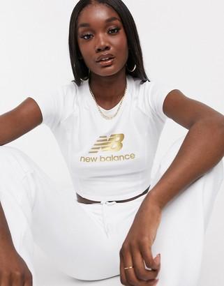 New Balance cropped metallic logo t-shirt in white