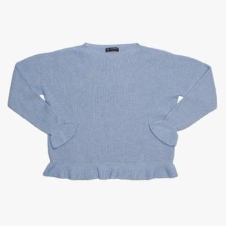 Alpini Knitwear Blue Frilled Hem Jumper